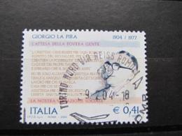 *ITALIA* USATI 2004 - CENT GIORGIO LA PIRA - SASSONE 2737 - LUSSO/FIOR DI STAMPA - 6. 1946-.. Repubblica