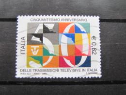 *ITALIA* USATI 2004 - 50° TRASMISSIONI TELEVISIVE - SASSONE 2736 - LUSSO/FIOR DI STAMPA - 6. 1946-.. Repubblica