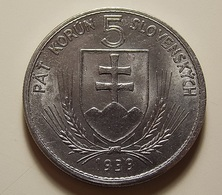 Slovakia 5 Korun 1939 Varnished - Slovakia