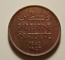 Palestine 1 Mil 1943 Varnished - Monnaies