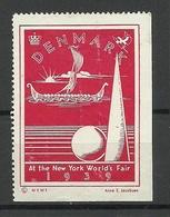DENMARK USA 1939 New York World Fair Poster Stamp - Cinderellas