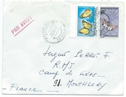 ENVELOPPE FORT LAMY TCHAD POUR MONTLHERY 1969 / PAPILLONS - Chad (1960-...)