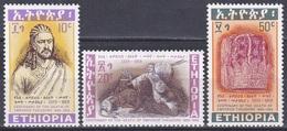 Äthiopien Ethiopia 1968 Geschichte History Königshäuser Royals Kaiser Theodorus Löwen Lions Kronen Crowns, Mi. 581-3 ** - Äthiopien