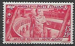 REGNO D'ITALIA   1932 DECENNALE DELLAMARCIA SU ROMA SASS.. 340  MLH  VF - Mint/hinged