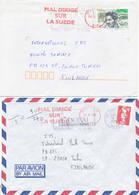 France 1993 2 Covers To Finland, Maldirige Sur La Suede, Missent To Sweden - Variétés Et Curiosités