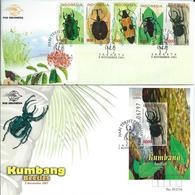 Indonesia. Scott # 1975-80  FDC Set & S/sheet. Beetles 2001 - Indonesia