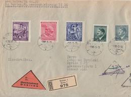 Böhmen Und Mähren R-NN-Brief Mif Minr.92,98,128,129,130 Brünn 9.8.43 Gel. Nach Berlin - Böhmen Und Mähren