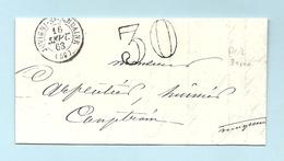 Orne - Juvigny Sous Andaine Pour Couptrain. CàD Type 15 + Taxe Tampon 30. 1863 - Marcofilie (Brieven)