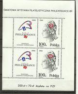 Poland 1989 - Mi. Bl. 108 II , MNH - Blocks & Sheetlets & Panes