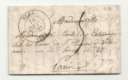 Orne - Séez Pour Paris. CàD Type 13 + Taxe Tampon 5. 1837 - Marcofilie (Brieven)