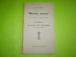 """Pape Pie XII ; Lettre Encyclique """"Miranda Prorsus"""" Le Cinéma,la Radio Et La Télévision  1957 - Religion"""