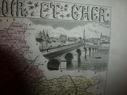 1880 Carte Géographique Et Descriptive LOIR Et CHER (Blois,Vendome,etc): Gravure Taille Douce - Migeon,géographe-éditeur - Geographische Kaarten