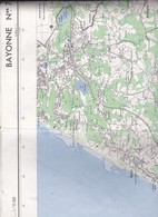 CARTE  IGN   1968  AU  1/25000   BAYONNE N° 7-8  /COTE D'ILBARRITZ A GUETHARY ET INTÉRIEUR DES TERRES - Cartes Topographiques