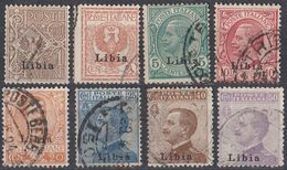 LIBIA (COLONIA ITALIANA)  - 1912/1917 -  Lotto Di 8 Valori Usati: Yvert 1/4 E 6/8 E 10 Come Da Immagine. - Libyen