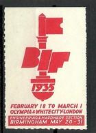 GREAT Britain 1935 British Int. Fair Engineering & Hardware Section Birmingham Vignette Poster Stamp - Cinderellas