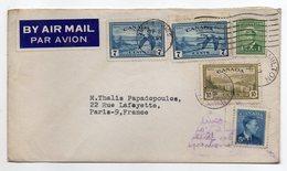 Canada-1952-lettre De HAMILTON  Pour PARIS (France)--timbres-cachets-- - 1952-.... Regering Van Elizabeth II