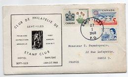Canada-1968--lettre De SEPT-ILES  Pour PARIS (France)--timbres-Beau Cachet--Programme Exposition Inclus - 1952-.... Regno Di Elizabeth II