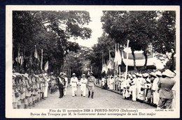 Dahomey PORTO-NOVO Fête Du 11 Novembre 1938 - Revue Des Troupes Par Le Gouverneur Aunet - Dahomey