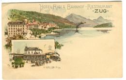 ZUG Hotel Rigi & Bahnhof-Restaurant A Waller Prop. Um 1900 Farb-Litho - ZG Zoug