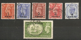 BRITISH POSTAL AGENCIES IN EASTERN ARABIA 1950 - 1955 VALUES TO 2R On 2s 6d BETWEEN SG 35 And SG 41 FINE USED Cat £53 - Unclassified