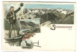 Gruss Vom Schwarzhorn Farb-Litho Um 1897 H. Metz Ausg. - GR Grisons