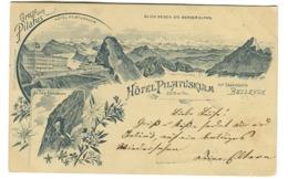 Hôtel Pilatuskulm Mit Dependance Bellevue Gruss Vom Pilatus Blick Gegen Berner Alpen Eselwand, ZUG-RAHMENSTEMPEL 1897 - BE Bern