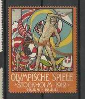 SCHWEDEN Sweden 1912 Vignette Olmpische Spiele Stockholm Advertising Text Auf Deutsch * - Sommer 1912: Stockholm