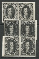 Argentina Scott#8-10 Black Essay Proofs Imperforated In Pairs On Hard Paper Mint Without Gum 1864/67 Rivadavia - Argentina