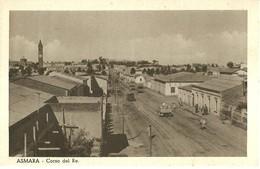 """2225 """" ASMARA - CORSO DEL RE - CAMIONS E BICICLETTA """" CARTOLINA POSTALE ANIMATA ORIGINALE NON SPEDITA - Eritrea"""