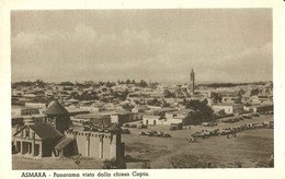 "2229 "" ASMARA - PANORAMA VISTO DALLA CHIESA COPTA-VARI AUTOCARRI D'EPOCA "" CARTOLINA POSTALE ANIMATA ORIGINALE NON SPED. - Eritrea"