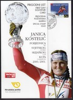Croatia 2001 / Janica Kostelic Winner Of The Alpine Skiing World Cup 2000./2001. / Souvenir Card - Croatie
