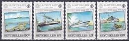 Seychellen Seychelles 1984 Transport Seefahrt Seafaring Schiffe Ships Zeitung Newspaper Lloyd's List, Mi. 554-7 ** - Seychellen (1976-...)