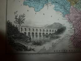 1880 GARD (Nimes,Alais,Uzès,Le Vigan,etc) Carte Géographique & Descriptive:gravure Taille Douce -Migeon,géographe-édit. - Cartes Géographiques