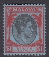 Malaysia-Straits Settlements SG 290 1938 King George VI, $ 1.00 Black And Red, Mint Never Hinged - Straits Settlements
