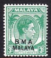 Malaya B.M.A  SG 4 1945 British Military Administration, 3c Yellow-green, Mint Never Hinged - Malaya (British Military Administration)