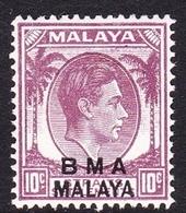 Malaya B.M.A  SG 8a 1945 British Military Administration, 10c Purple, Mint Never Hinged - Malaya (British Military Administration)