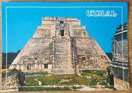 UXMAL, Yucatan, Mexico - Parte Oeste Del Tempio Del Adivino - West Face Of The Temple Of The Sorcerer - Maya Art  Vg - Messico