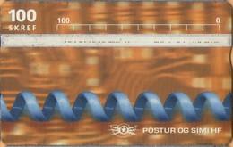 Iceland - ICE-D-18, L&G Siminn, Blue Cord, 100 U, 15,000ex, 1997, As Scan - Iceland
