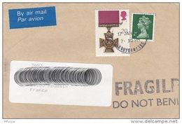 L4O093 GB 1991 Lettre PA  Pour Roubaix France  / 20p Victoria Cross 2p - 1952-.... (Elizabeth II)