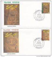 L4O188 POLYNESIE FRANCAISE 1986 FDC Art Rupestre Polynésien 58, 59f Papeete 16 04 1986 / 2 Envel.  Illus. - FDC