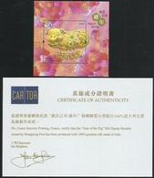 China Hong Kong 2019 Zodiac/Lunar New Year Of Pig Silk SS/Block With Certification MNH - Nuevos