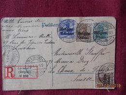 Entier Postal De Belgique (occupation Allemande) Avec Supplement...Recommande Pour La Suisse - Entiers Postaux