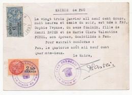 CP 1,20F Pétain Utilisée Comme Extrait D'acte De Naissance - Mairie De PAU 1942 - Avec Fiscaux - Cartes Postales Types Et TSC (avant 1995)