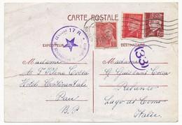 CP 1,20F Pétain Avec Affr. Complém. De PAU 11/12/1943 Pour Lac De Côme (Italie) - Censure Italienne - Cartes Postales Types Et TSC (avant 1995)