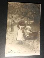 19863) BALIA O MAMMA CON ANTICA CARROZZINA PER BAMBINI VIAGGIATA 1903 BELLISSIMA - Fotografia