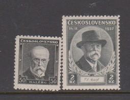 Czechoslovakia Scott 202 And 204 1935 85th Birthday President Masaryk, Mint Hinged - Czechoslovakia