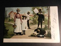 19864) BAMBINI CON CESTINO PICNIC E RETINO PER FARFALLE VIAGGIATA 1903 MOLTO BELLA - Illustrateurs & Photographes
