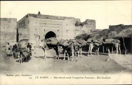 Cp Marrakesch Marokko, Bab Doukkala, Kamele, Esel - Maroc