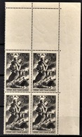 FRANCE 1943 - Y.T. N° 584 / BLOC DE 4 TP COIN DE FEUILLE / NEUFS** - France