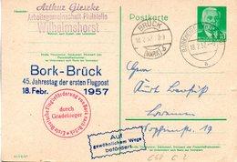 """DDR Amtl. Gzs-Postkarte P68a """"Wilhelm Pieck"""" 10 Pf. Blaugrün, TSt 18.2.57 BRÜCK+18.2.57 BORKHEIDE - Cartoline - Usati"""